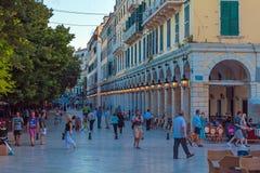 CORFU, GREECE - JULY 6, 2011: Night Life Of Liston, Main Promenade Of Kerkyra Royalty Free Stock Photography