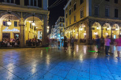 CORFU, GREECE - JULY 12, 2011: Night life of Liston, main promen Royalty Free Stock Photo