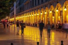 CORFU, GREECE - JULY 6, 2011: Night life of Liston, main promena Stock Photos