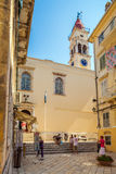 CORFU, GREECE - JULY 1, 2011: Tourists enter in the Cathedral of Royalty Free Stock Images