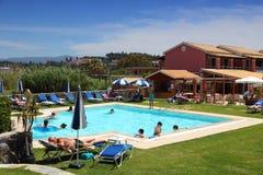 Corfu hotel pool stock photos