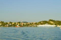 Corfu harbour 2 way ferries Stock Image