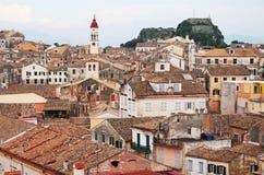 corfu greece town Royaltyfria Foton
