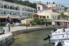 Corfu harbour in Kassiopi Royalty Free Stock Images