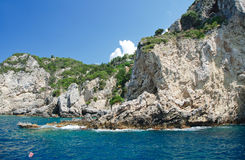 Corfu Island. Rocky coast of Corfu island on Ionian Sea in Greece Royalty Free Stock Photo