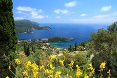 Corfu Island, Greece. Paleokastritsa on Corfu island, Greece. Ionian Sea coast in summer Stock Photos