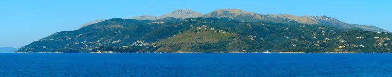 Corfu island Greece. Summer view of Corfu island Greece. Ionian sea coastline landscape. Four shots stitch high-resolution panorama Royalty Free Stock Photography