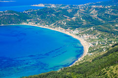 Corfu island panorama from above. Corfu beach coastline birds ey. E view. Aerial panoramic shot Stock Photo