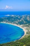Corfu island panorama from above. Corfu beach coastline. Birds eye view Stock Images