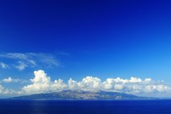 Corfu island seen from Sarande Stock Photo