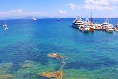 Corfu island yachts Greece Royalty Free Stock Photo
