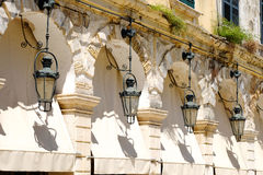 Corfu Liston Promenade architecture and details. Kerkyra island Royalty Free Stock Image