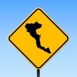 Corfu map on road sign. Square poster with Corfu island map on yellow rhomb road sign. Vector illustration royalty free illustration