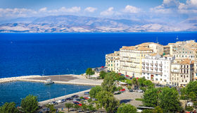 Corfu old harbour, city symbol. Panoramic view. With the old city royalty free stock photo