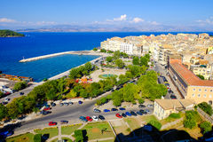 Corfu old harbour, city symbol. Panoramic view. With the old city and the central park stock photography