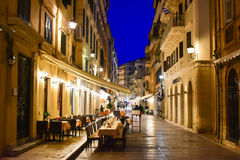 Corfu old town city streets at night with restaurants Stock Photography