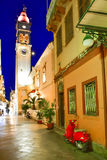 Corfu old town city streets at night with restaurants Royalty Free Stock Image