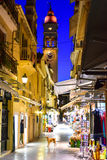 Corfu old town (Kerkyra) city streets by night. Grand public market Royalty Free Stock Images
