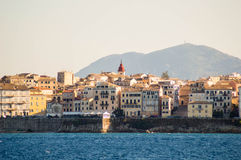 Corfu old town. View from vidos island greece in the summer , blue sea ,and colorfull buildings Stock Image