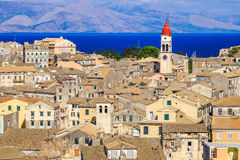 Corfu panorama over the old city and old clock tower Stock Photos
