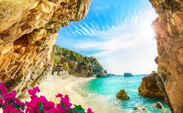 Corfu, Pelion, Greece. Beautiful view over the sea beach in Corfu island, Pelion, Mylopotamos, Greece stock images