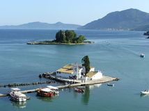 Corfu. Pontikonisi Island Stock Photo