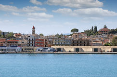 Corfu port with warehouses Royalty Free Stock Photos
