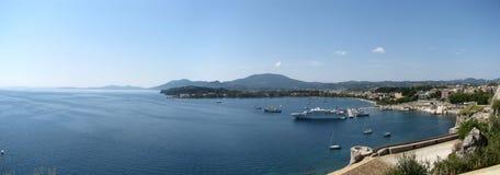 Corfu schronienie miasteczko i. Fotografia Royalty Free
