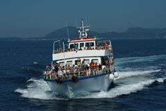 Corfu: ship crowded with tourists Royalty Free Stock Image