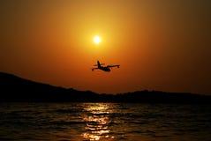 corfu solnedgång Arkivfoto