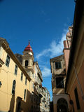 Corfu Street 2. Perspective shot of a street in Corfu Greece. Clouds are present royalty free stock images