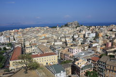 Corfu town. Corfu (Kerkyra) town, view from one of the venetian fortresses in the city. The other fortress is seen in the far end Stock Photography