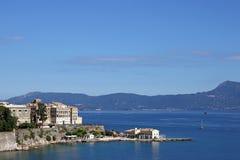 Corfu town and blue sea cityscape summer season Stock Photography