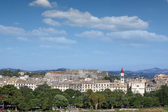 Corfu town cityscape with fortress old buildings and church Stock Images