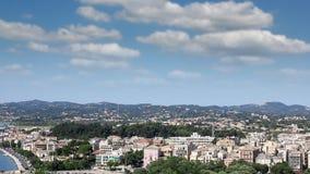 Corfu town cityscape stock footage