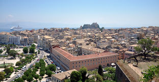 Corfu Town, Greece. View of the city of Corfu in the summer, Greece Stock Image