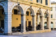 Corfu town Liston promenade street with old venetian influences Royalty Free Stock Photos