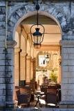 Corfu town Liston promenade street Stock Images