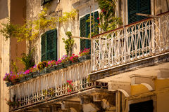 Corfu town, Luxury Aparments. Corfu Town, luxury Apartments and balconies Stock Photo
