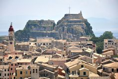 Corfu town and the old citadel, Greece, Europe Stock Photography