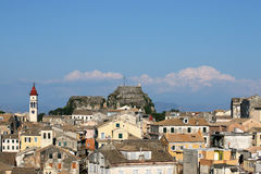 Corfu town old fortress and buildings Stock Photos