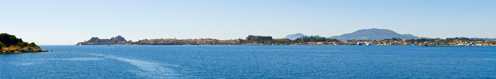 Corfu town in panoramic view, Greece Stock Image