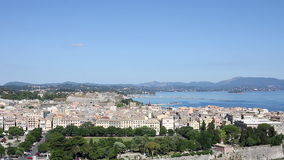 Corfu town and port stock video footage