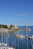 Corfu town port with yachts Royalty Free Stock Photo