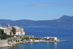 Corfu town and sea landscape Royalty Free Stock Photo