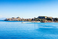 Corfu town from the sea. A view of Corfu Town, the capital of the island of Kerkyra, or Corfu, seen from the sea Stock Photography