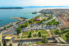 Corfu town. Seaside view of Corfu Town at early morning. Kerkyra. Greece, Corfu island. The view from new fortress Stock Photography