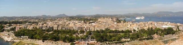 Corfu townpanorama Fotografering för Bildbyråer
