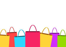 Corful shopping bags border design. Colorful shopping bags border design with blank space stock illustration