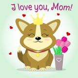 Corgi щенка сидит рядом с вазой с розовыми тюльпанами, стилем шаржа Поздравления мать s дня счастливая бесплатная иллюстрация